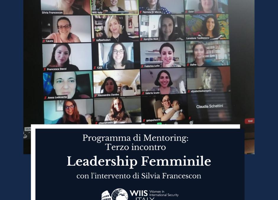 Programma di Mentoring terzo incontro online: Leadership Femminile