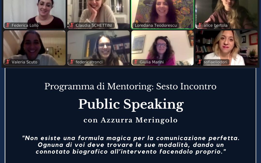 Programma di Mentoring sesto incontro online: Public Speaking