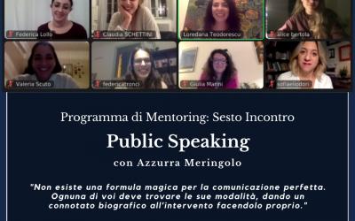Mentoring Programme sixth online meeting: Public Speaking